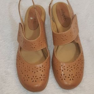 Softspots Leather Upper Strap Low Heel Shoes